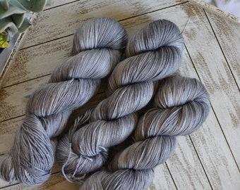 "Fingering Weight ""Charcoal"", Superwash Merino Nylon Blend, Hand Dyed Yarn, Sock Weight, 100g Skein"