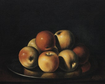 Painting , art, Still life,  with , apples in a plate