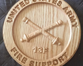 United States Army Fire Support 13F plaque