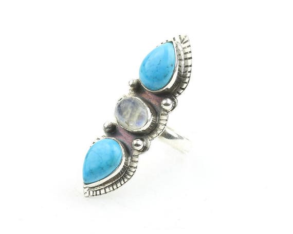 Lost Soul Ring, LARGE Sterling Silver Turquoise And Moonstone Ring, Long, Statement Piece, Jewelry, Boho, Festival, Gypsy, Hippie, Spiritual