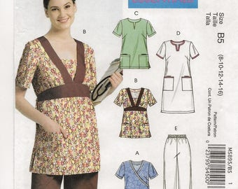 """A Scrubs / Medical Uniform Pattern: Pullover Tops, Dress and Pants - Uncut - Women's Sizes 8-10-12-14-16, Bust 31-1/2"""" - 38"""" ~ McCall's 5895"""