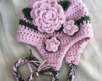 Crochet flower hat, flower hat, crochet kids hat, crochet flower child hat, crochet stripe hat, child flower hat