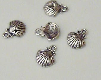 5 charms for creating Jewelry Silver shells