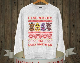 Ugly Christmas Sweater, Five Nights At Freddys, Fazbear 5 Nights at Freddys, Fanf Ugly Sweater Party, Ugly Sweater