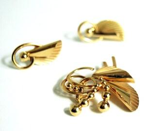 Modernist Jewelry Set, Carl Art Company, 1940s Gold Brooch, Art Moderne Brooch, Earrings, Vintage Gold Jewelry, Mid Century Modern