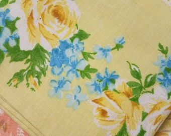 Vintage Yellow and Blue Floral Pillowcase NIP