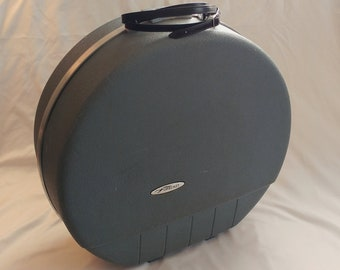 1960s Forecast Retro Blue Circular Travel Suitcase