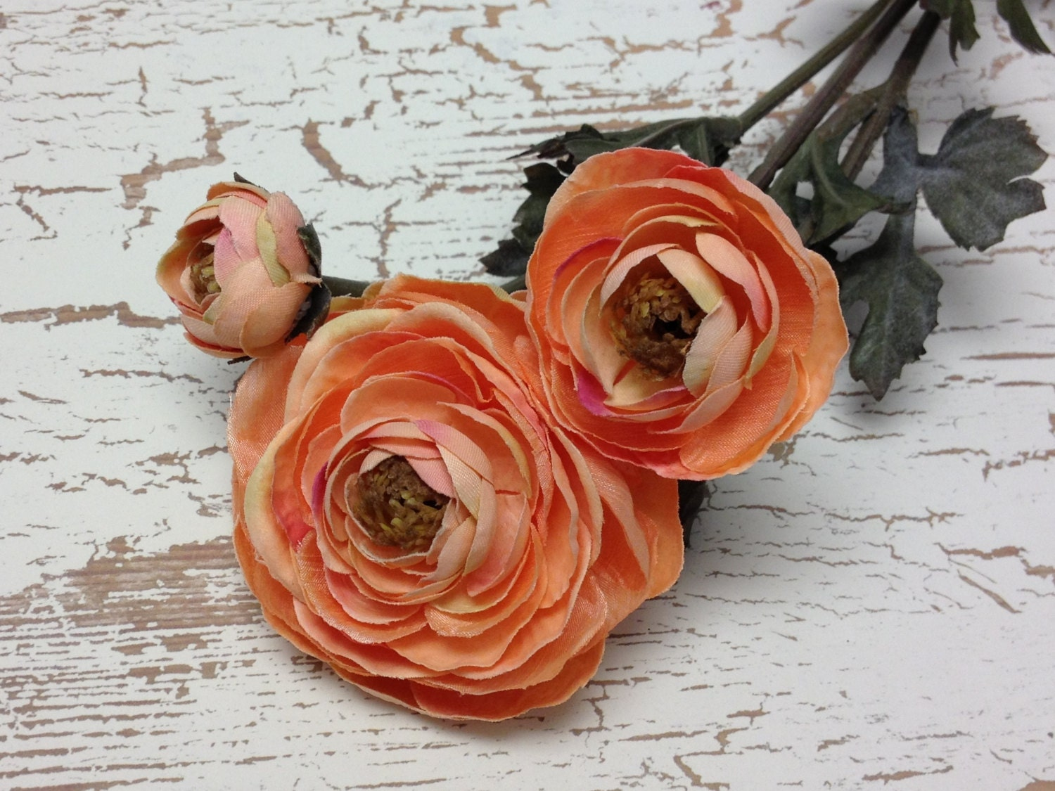 Peach Pink Artificial Ranunculus Flower Spray - Silk Flowers ...