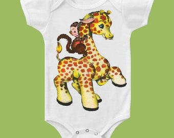 Monkey Giraffe, New baby, One Piece Baby, Babys 1st Birthday outfit, Girls Clothes tops, Baby Boy t-shirt, by ChiTownBoutique.etsy