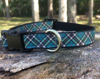 Green and Black Plaid Dog Collar