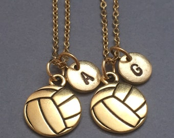 Best friend necklace, volleyball necklace, sports necklace, personalized necklace, initial necklace, monogram