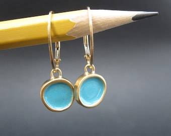 Reversible Enamel and Vermeil Earrings in Peacock and Sapphire Blue - Gold-plated earrings
