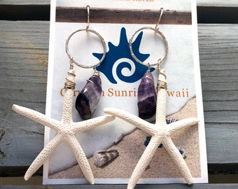 Starfish and Amethyst Earrings