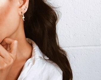 Lightning bolt earrings, Gold lightning bolt earrings, Tiny lightning earrings, Gold filled charm earrings, Dangle earrings