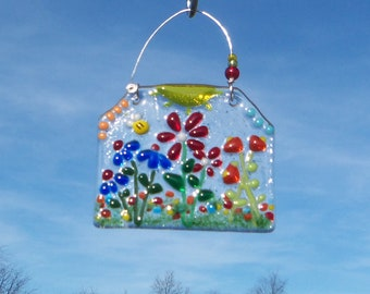 Field of Flowers under a Bright Yellow Sun // Fused GLass // Suncatcher // Ornament // Tulip // Summer // Spring //Colorful//Whimsical//Fun