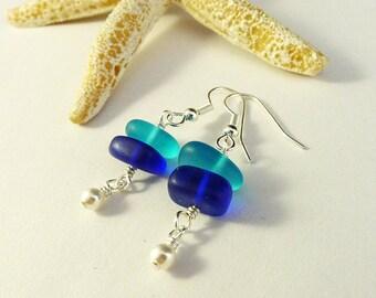 Blue sea glass earrings cobalt blue seaglass earrings Swarovski pearls aqua blue sea glass jewelry seaglass jewelry dainty earrings beach