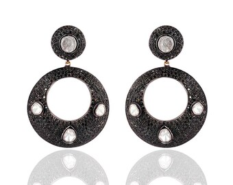 Silver Diamond Earring With Black Spinel And Polki ESDE-1250