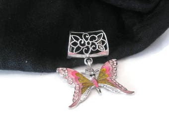 Pink Butterfly Scarf Pendant Charm - Metal Scarf Jewelry Slide - Scarf Necklace - Scarf Pendant Bail Charm