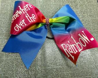 Somewhere Over the Rainbow... Tick Tock Rainbow sublimation and Royal Blue Sparkle Glitter Cheer Bow