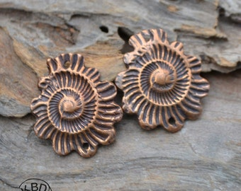Hand made Copper Ammonite Scalloped Component (1 pair)