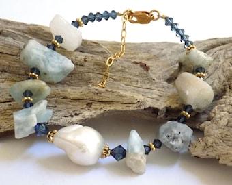 Bracelets for Women Gemstone Bracelet Blue Lace Agate Beaded Bracelet Gift for Women Blue Bracelet Gift for Her Gold Bracelet Stone Jewelry