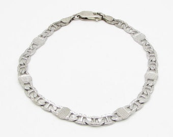 925 sterling silver - figure eight thin chain link bracelet - b1046