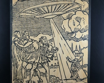 Enlightenment - Medieval UFO Abduction Woodcut