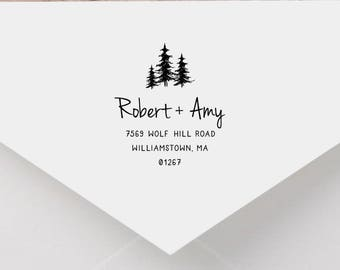 Forest Personalized Return Address Stamp, Tree Address Stamp, Self-Inking Return Address Stamp, Wood Address Stamp, Custom Stamp Style No.45