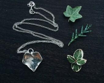 Sterling silver ivy leaf pendant
