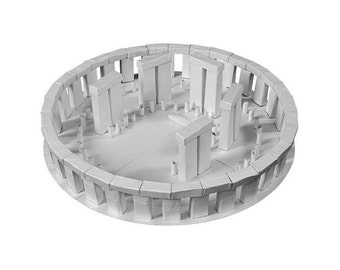 Stonehenge, assembled paper model of a druid circle || white or silver metallic color || 13 inches = 34 cm in diameter