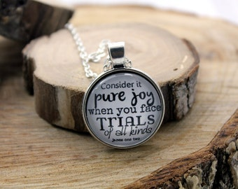 Pendant Necklace James 1 Consider it pure joy When you meet trials of various kinds Vintage style Christian Pendant necklace Hymn Drop
