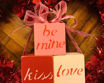 Be Mine, Kiss & Love Valentine's Day Blocks