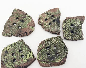 Five Large Rustic Buttons, Handmade Ceramic Clay Textured Lime Green and Dark Brown