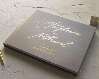 Wedding Guest Book Modern Guestbook, Guestbook Wedding Personalize Guest Book for Wedding, Wedding Guest Book Gold Foil Wedding Guest Book