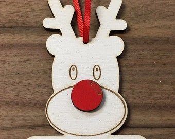 Custom Made & Personalised Rudolph The Red Nose Reindeer Christmas Decoration, Christmas Bauble, Christmas Gift Tag, Christmas Tree Bauble