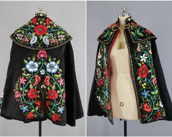 Vintage 1940s Embroidered Cape / Spanish Matador's Cape / Toreador's Capote / Flamenco / Floral Embroidery / Spain / Embroidered Coat