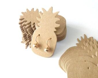 10 Supports earrings display cardboard pineapple 6.4cmx3.2cm