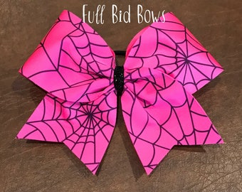 Cheer Bow - Pink Spider Web
