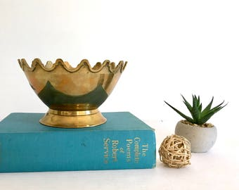 Vintage Brass Bohemian Pedestal Bowl Scalloped Edges Mid Century Hollywood Regency India Planter Vase