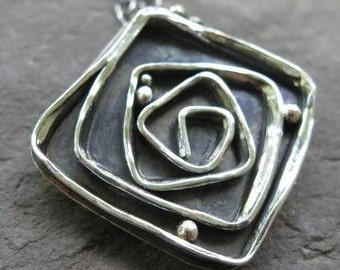 sterling silver freeform rose pendant . ((Dark Rose Necklace)) . girlfriend gift . artisan jewelry . silversmith jewelry . made to order
