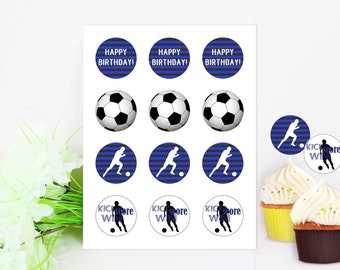 Soccer Cupcakes, Soccer Birthday Party, Boy Birthday, Blue and Black, Blue Soccer Party, Cupcake Topper, DIY Soccer Cupcakes, Printable File