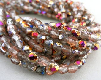 4mm New Dawn Czech Beads, Faceted Fire Etched Crystal, Czech Glass, Strand of 50