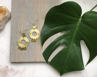 Modern Hammered Brass Circle + Discs Earrings