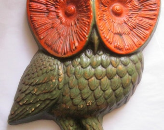 Vintage Wall Decor Big Eyed  Owl