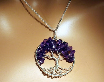 Shimmering Sterling Silver Amethyst Tree Of Life Necklace On Sterling Chain Wire Wrapped Pendant Gemstone Jewelry February Birthstone