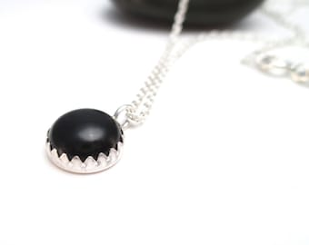 Black Onyx Necklace in Silver, Necklace Under 25