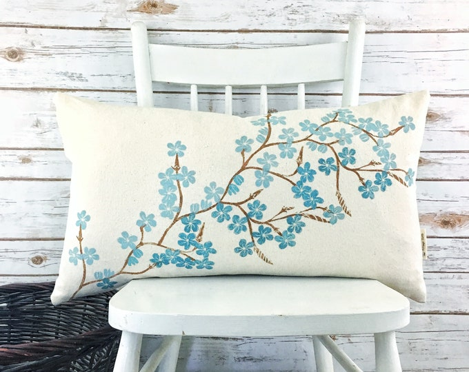 Mothers Dat gift! Organic cotton pillow, hand printed cherry blossom boughs, shades of blue on brown stems, unique accent pillow, blue decor