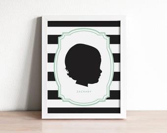 custom silhouette portrait, child silhouette, personalized family art, modern silhouette, family keepsake art, mothers day gift