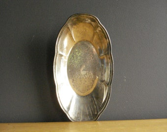 Vintage Silver Tray - Oval Silverplate Platter or Serving Tray