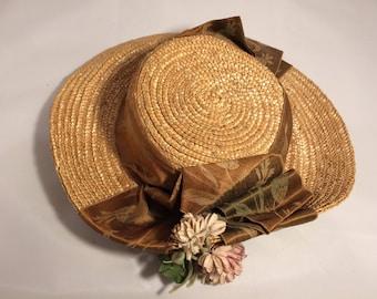 Victorian Straw Hat Clover Flowers
